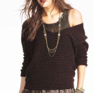 Free People Brown and Black Stripe Sweater